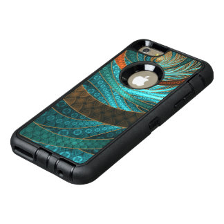 Beautiful Leather & Blue Turquoise Fractal Jewelry OtterBox Defender iPhone Case