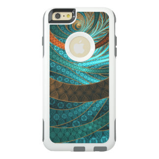 Beautiful Leather & Blue Turquoise Fractal Jewelry OtterBox iPhone 6/6s Plus Case