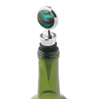 Beautiful Leather & Blue Turquoise Fractal Jewelry Wine Stopper