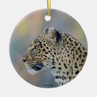 Beautiful Leopard Profile Ceramic Ornament