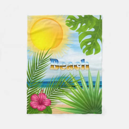 Beautiful Life is a Beach Tropical Design Fleece Blanket