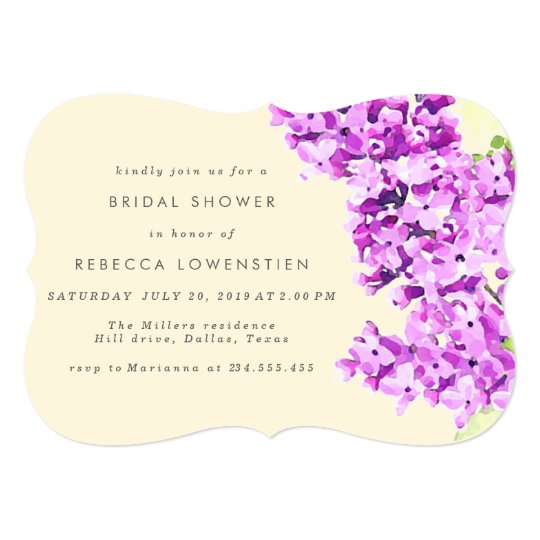 Beautiful Lilac Floral Watercolor Bridal Shower Card