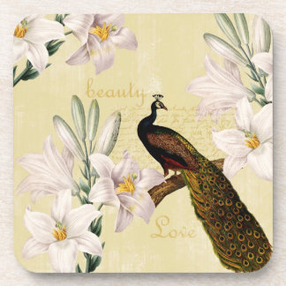 Beautiful Lilies Peacock Coaster