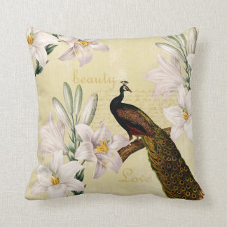 Beautiful Lilies Peacock Throw Pillow