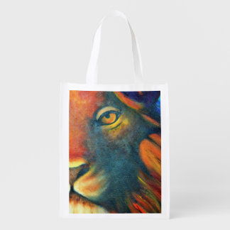 Beautiful Lion Head Portrait Regal and Proud Reusable Grocery Bag