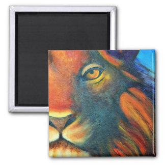 Beautiful Lion Head Portrait Regal and Proud Square Magnet