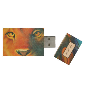 Beautiful Lion Head Portrait Regal and Proud Wood USB 2.0 Flash Drive