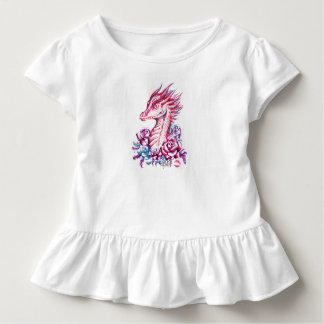 Beautiful Lipstick Dragon Art Toddler Ruffle Tee