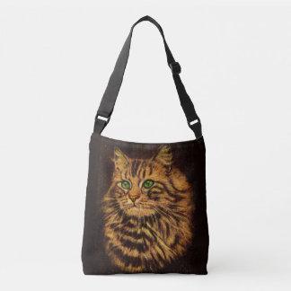 beautiful long-haired tabby cat print crossbody bag
