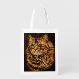 beautiful long-haired tabby cat print reusable grocery bag