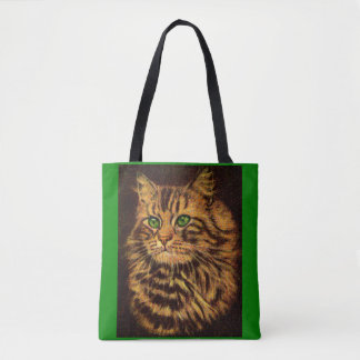 beautiful long-haired tabby cat print tote bag