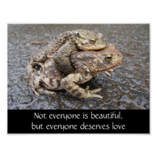 Beautiful Love motivational poster with frogs