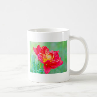 Beautiful macro tulip over green background coffee mug