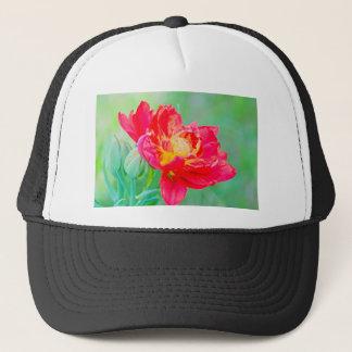 Beautiful macro tulip over green background trucker hat