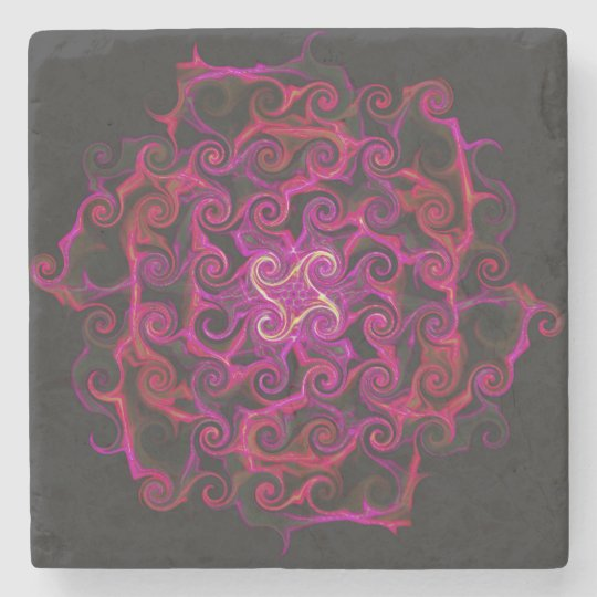 Beautiful Magenta Dahlia Designed Stone Coaster