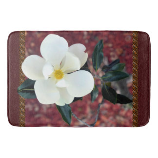 Beautiful Magnolia Burgundy Large Bath Mat