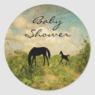 Beautiful Mare and Foal Horse Baby Shower Classic Round Sticker