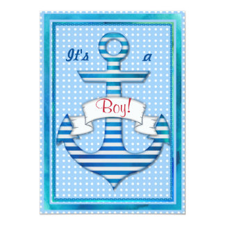 Beautiful Marine Sailor Boy Shower Custom Invite