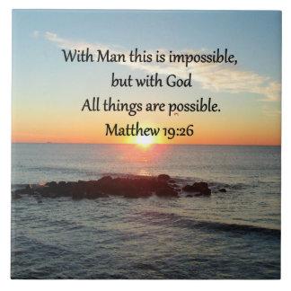 BEAUTIFUL MATTHEW 19:26 PHOTO DESIGN TILE