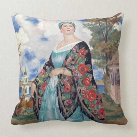 "Beautiful merchant woman Throw Pillow 20"" x 20"""