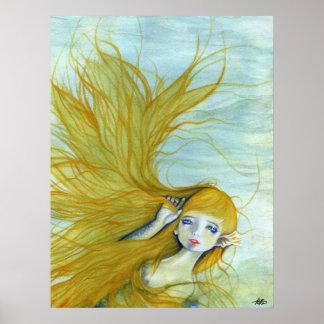Beautiful mermaid hair poster