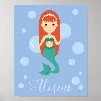 Beautiful mermaid with red hair swimming in ocean poster