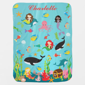 Beautiful Mermaids & Sea Life Custom Name Stroller Blanket
