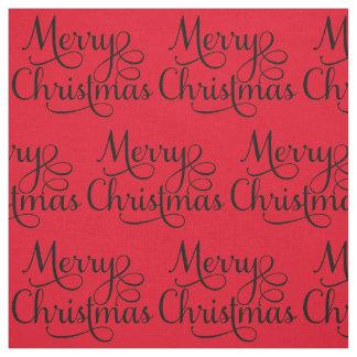 Beautiful Merry Christmas Script Text Fabric