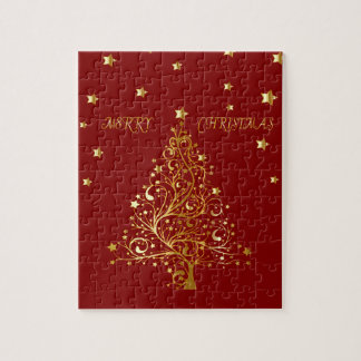 Beautiful metallic gold Christmas tree on dark red Jigsaw Puzzle