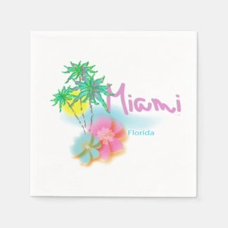 Beautiful Miami Florida Napkins Paper Napkins