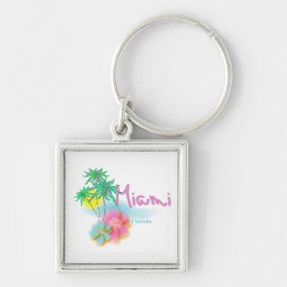 Beautiful Miami Florida Silver-Colored Square Keychain
