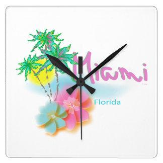 Beautiful Miami Florida Square Wall Clock