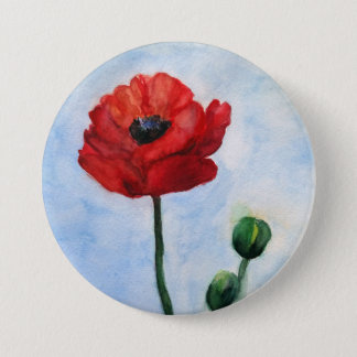 Beautiful Mind Red Poppy watercolor art 3 Inch Round Button