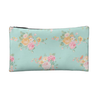 beautiful, mint,shabby chic, country chic, floral, cosmetic bag
