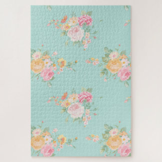 beautiful, mint,shabby chic, country chic, floral, jigsaw puzzle