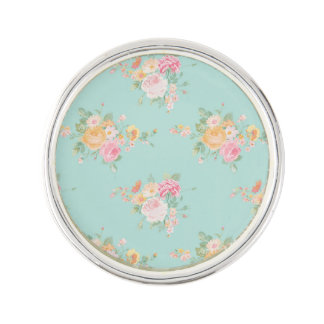 beautiful, mint,shabby chic, country chic, floral, lapel pin