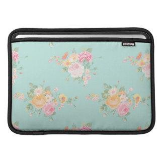 beautiful, mint,shabby chic, country chic, floral, MacBook sleeve