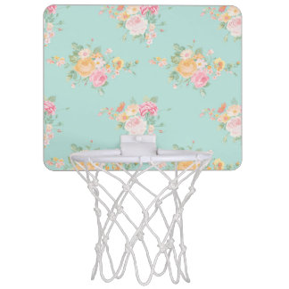 beautiful, mint,shabby chic, country chic, floral, mini basketball hoop
