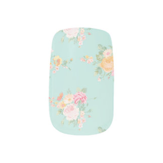 beautiful, mint,shabby chic, country chic, floral, minx nail art