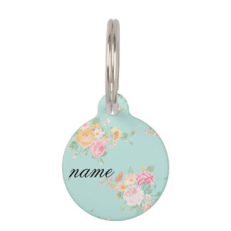 beautiful, mint,shabby chic, country chic, floral, pet name tag