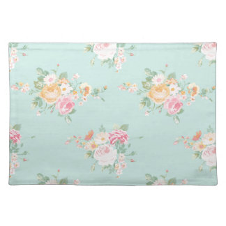 beautiful, mint,shabby chic, country chic, floral, placemat