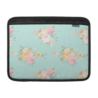 beautiful, mint,shabby chic, country chic, floral, sleeve for MacBook air