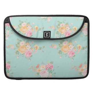 beautiful, mint,shabby chic, country chic, floral, sleeve for MacBooks