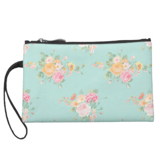 beautiful, mint,shabby chic, country chic, floral, suede wristlet