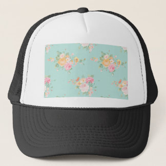 beautiful, mint,shabby chic, country chic, floral, trucker hat