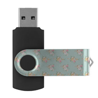 beautiful, mint,shabby chic, country chic, floral, USB flash drive