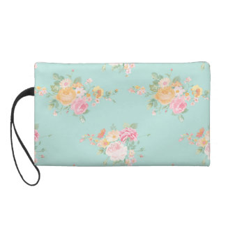 beautiful, mint,shabby chic, country chic, floral, wristlet