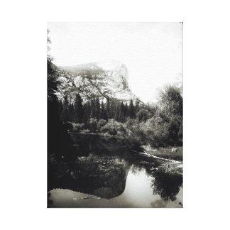Beautiful Mirror Lake Yosemite | Black and White Canvas Print