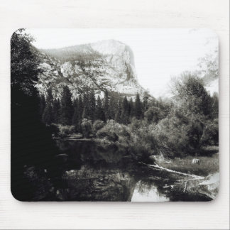Beautiful Mirror Lake Yosemite | Black and White Mouse Pad