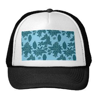 Beautiful modern floral line blue pattern trucker hat